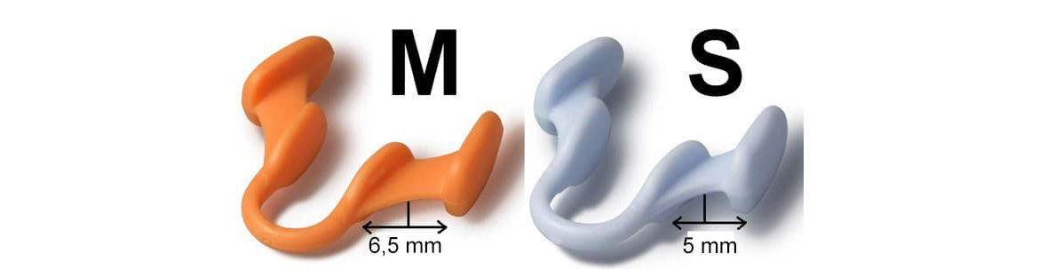 Dimensions of the two sizes of the nasal dilator